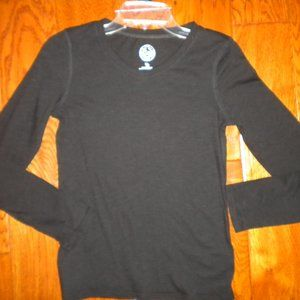 So Girls Size 14 Black V Neck Long Sleeve Shirt